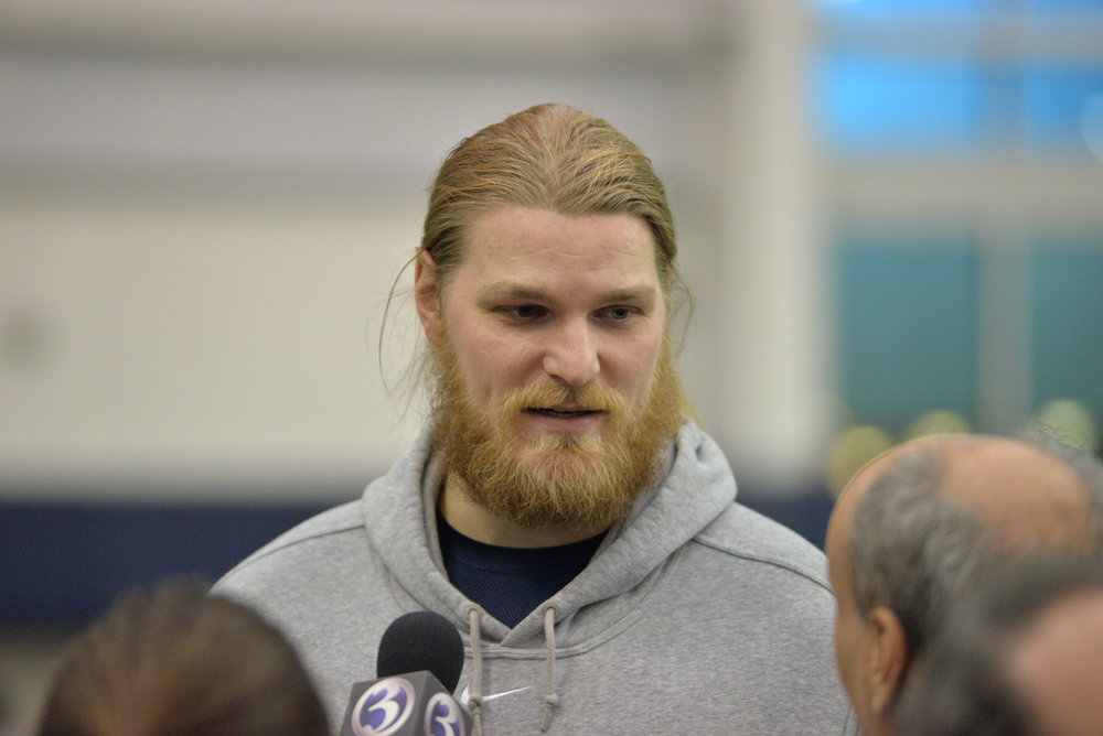 Pictured: Andreas Knappe, UConn offensive lineman at UConn Pro Scouting Day in Shenkman Training Center March 22, 2017. (Amar Batra/ The Daily Campus)