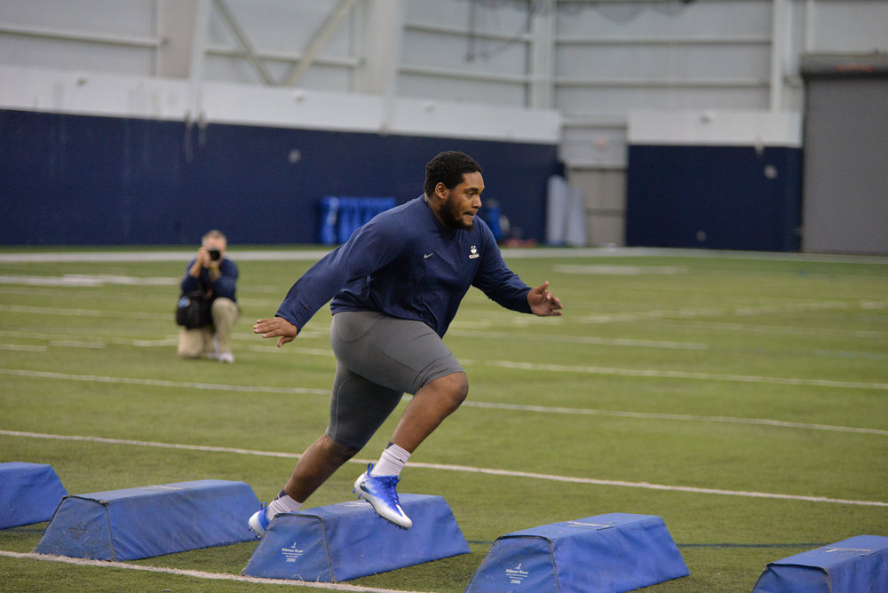 Pictured: Mikal Myers, UConn defensive lineman at UConn Pro Scouting Day in Shenkman Training Center March 22, 2017. (Amar Batra/ The Daily Campus)