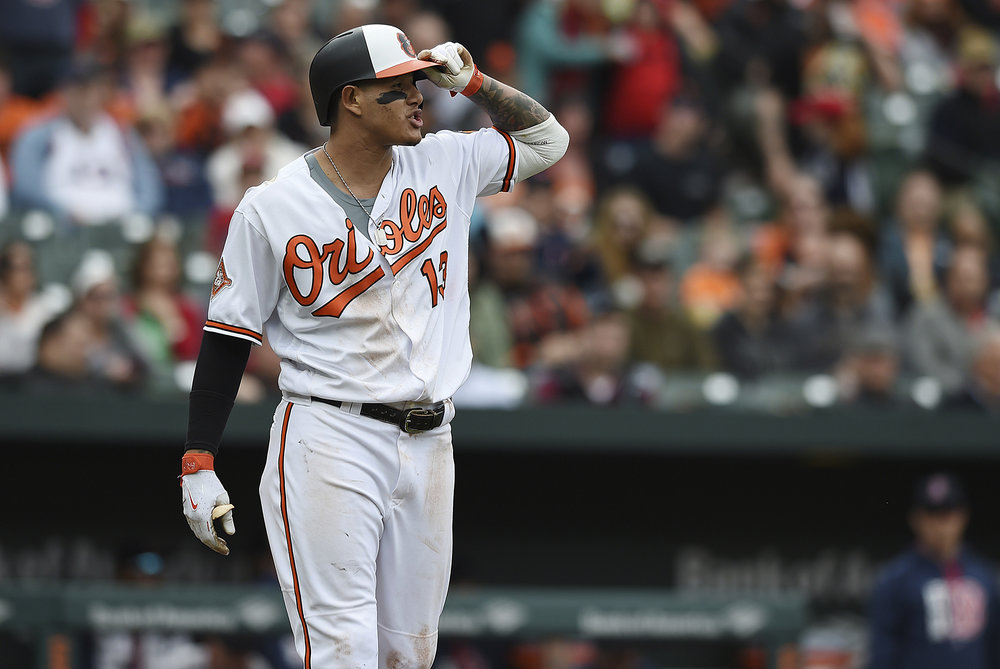 Baltimore Orioles Manny Machado looks to the pitching mound after a pitch was thrown near his head by Boston Red Sox pitcher Matt Barnes during the eighth inning of a baseball game Sunday, April 23, 2017, in Baltimore. The Red Sox won 6-2. (Gail Burton/AP)