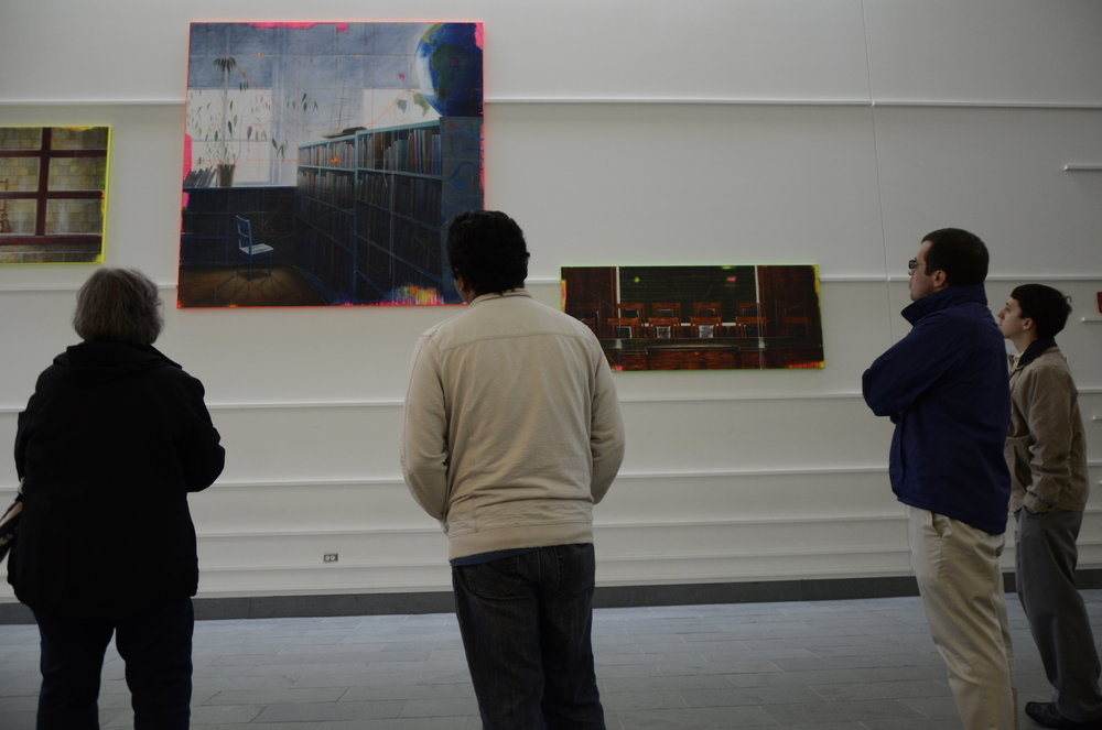 "Students touring the art and architecture of the William Benton Museum of Art, Laurel Hall and the Rowe Center on Wednesday, April 26. The tour was titled ""Art in Small Bites."" (Charlotte Lao/The Daily Campus)"