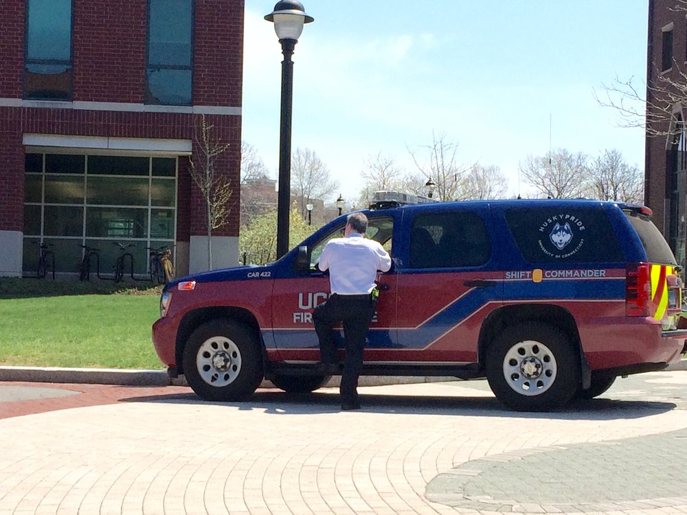 The UConn Fire Department responded to a call at the ITE Building Friday afternoon. (Emily Roller/The Daily Campus)