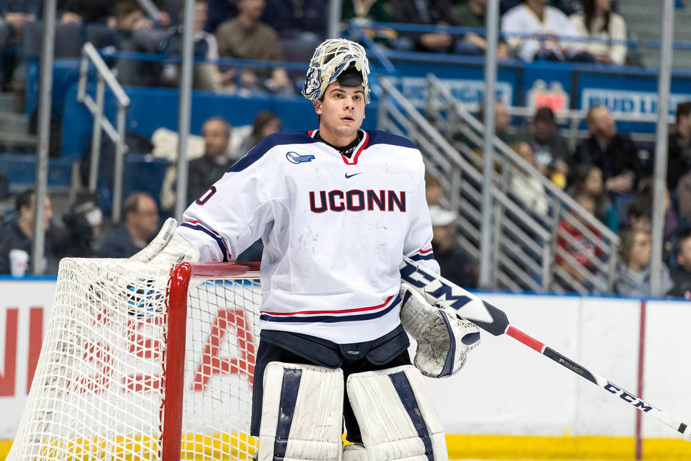 Freshman goaltender Adam Huska will lead the Huskies in the 2017-18 season. (Owen Bonaventura/The Daily Campus)
