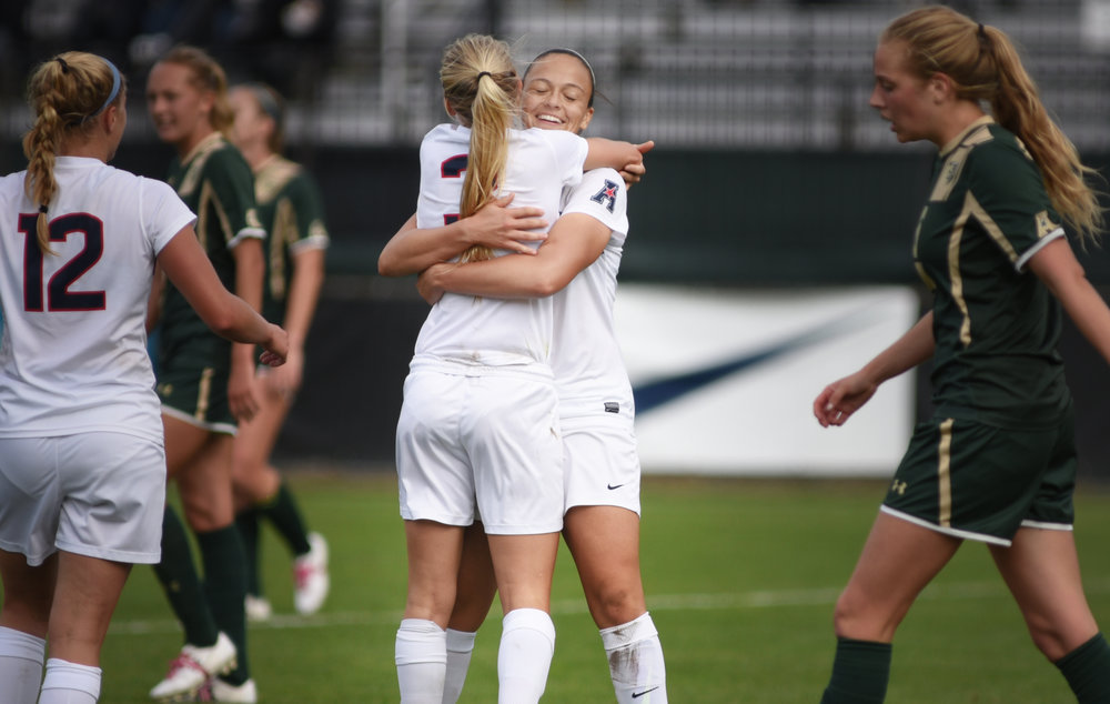 The Women's Soccer team defeated USF 3-1 on their senior day. Stephanie Ribeiro scored 2 and Rachel Hill scored 1. (Charlotte Lao/The Daily Campus)