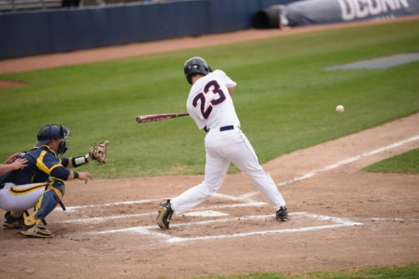 UConn catcher Zac Susi swings at a pitch during a 4-3 win over Quinnipiac on Apr. 17 at J.O. Christian Field in Storrs. (File Photo/The Daily Campus)