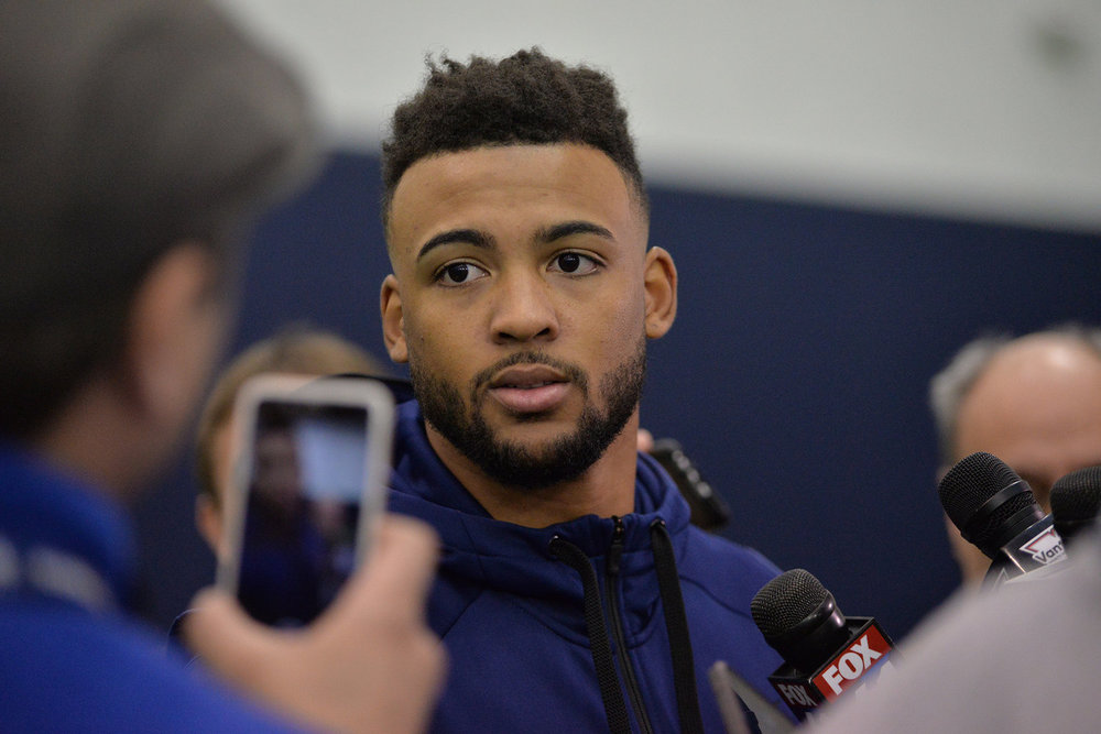Pictured: Noel Thomas, UConn wide receiver at UConn's Pro Scouting Day in Shenkman Training Center March 22, 2017. (Amar Batra/ The Daily Campus)