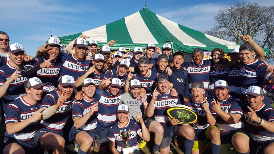 The UConn men's rugby team poses for a picture after winning the Beast of the East tournament (Photo Credit/Elijah Tateishi)