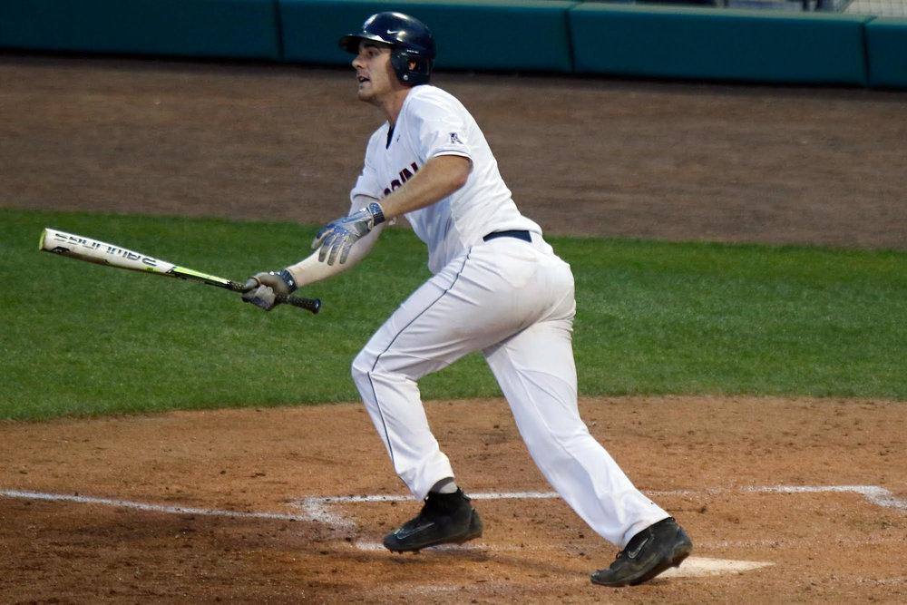 UConn designated hitter Alex LeFevre hits a home run during UConn's 6-0 win over East Carolina Thursday at Dunkin' Donuts Park in Hartford. (Ian Bethune/The UConn Blog)