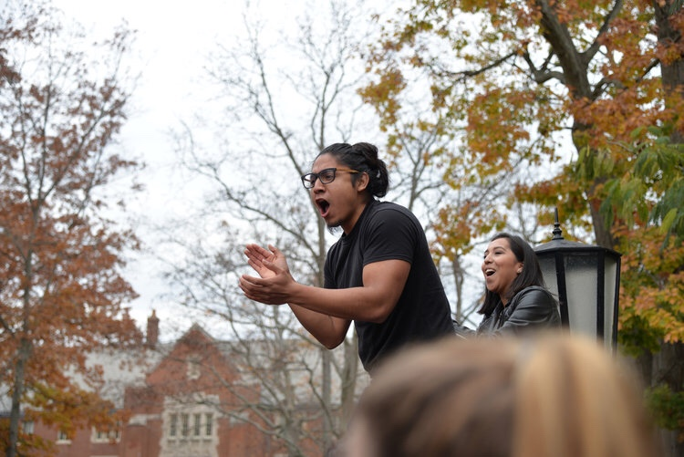 "Eric Cruz-Lopez gives his demands for undocumented students rights in front the Wilbur Cross Building on Wednesday Nov. 9, 2016 at the ""Rally for the People,"" which he organized following the election results. (Amar Batra/The Daily Campus)"