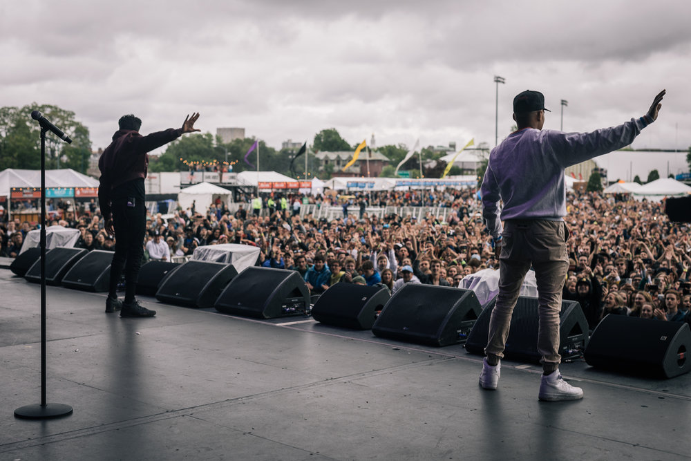 "Frances Farewell Starlite (left) performs ""May I Have This Dance"" with Chance the Rapper (right) performs at the Boston Calling music festival on Saturday, May 27, 2017. (Photo courtesy 44 Communications)"