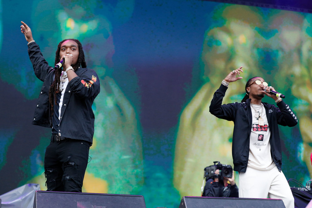 Rap trio Migos performs at the Boston Calling music festival on Saturday, May 27, 2017. The group filled a vacant spot, and fans were treated to a surprise performance that was announced less than 24 hours before the festival began. (Photo courtesy 44 Communications)
