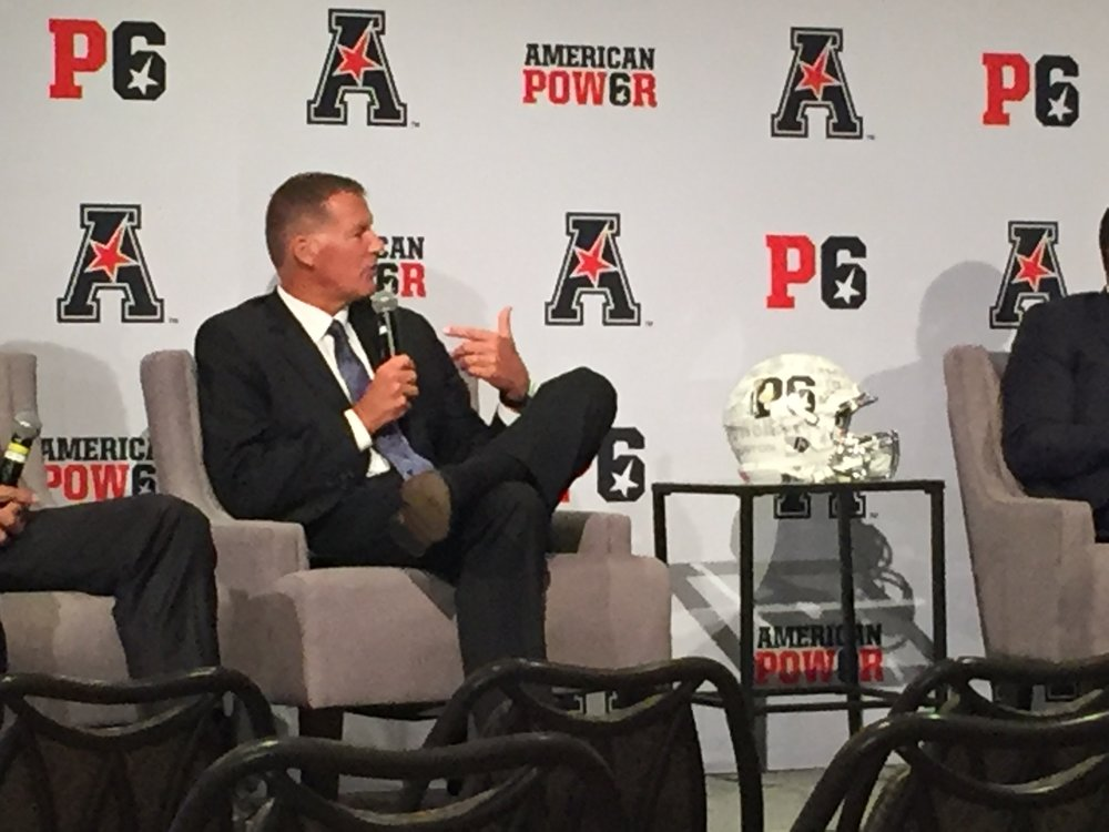 UConn head coach Randy Edsall speaks onstage at the American Athletic Conference Football Media Day in Newport, R.I. (Tyler Keating/The Daily Campus)