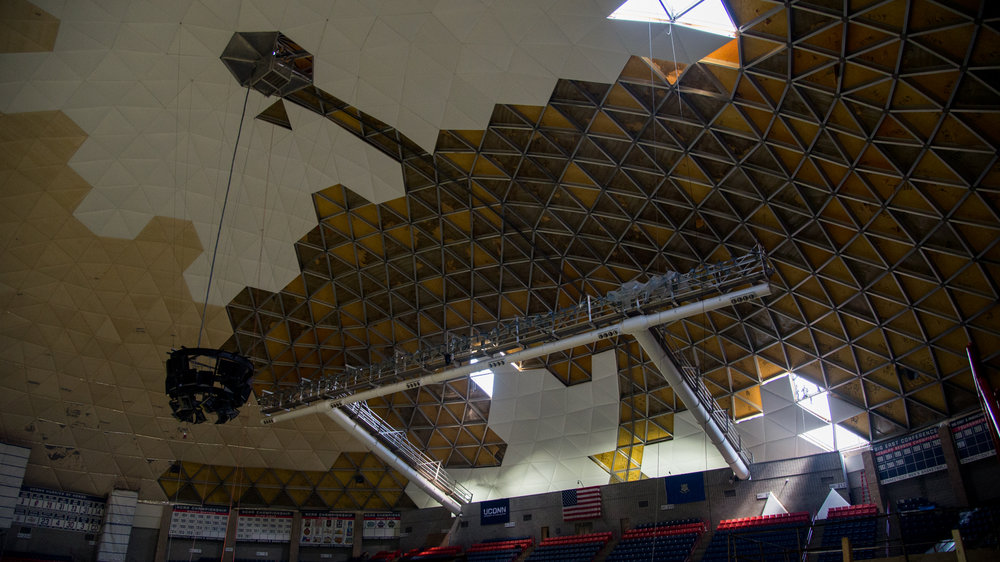The repair of Gampel consists of removing, recovering and raising 2,093 ceiling panels.Gampel Pavilion is under construction in order to fix issues with the roof. The $10 million project was started just after the end of the spring semester and is anticipated to be finished by the start of basketball season. (Amar Batra/The Daily Campus)