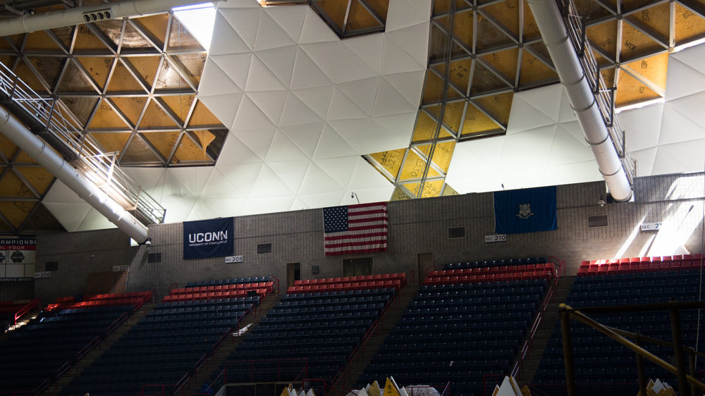 Renovations of Gampel Pavilion's roof continues on Wednesday, July 26, 2017. (Amar Batra/The Daily Campus)