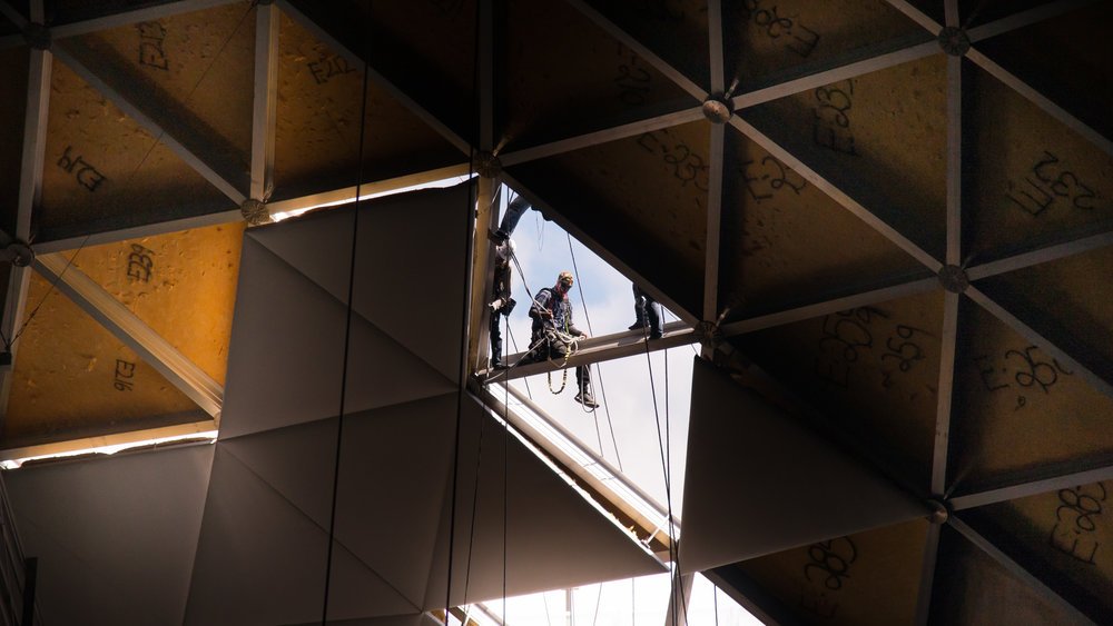 UDPC workers lower an old ceiling tile inside Gampel Pavilion on Wednesday, July 26, 2017. (Amar Batra/The Daily Campus)