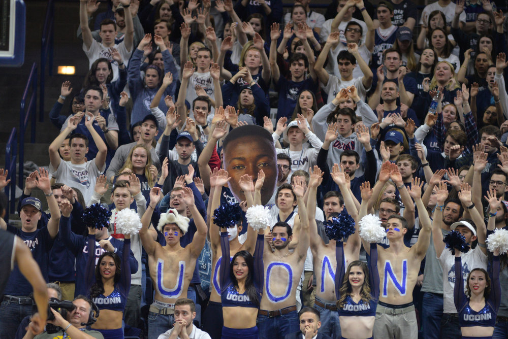The student section of Gampel Pavilion is an electric and wild experience that all students should experience. (Amar Batra/The Daily Campus)