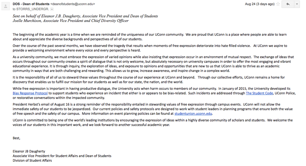 The August 24th email followed up an email sent on August 16th by President Herbst condemning the events of Charlottesville, VA. (Screenshot)