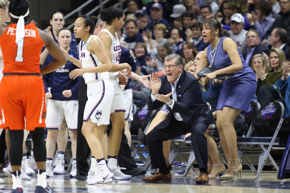 UConn Huskies Women's Basketball coach Geno Auriemma cheers on his team during a game on March 20th, 2017. (File Photo/The Daily Campus)