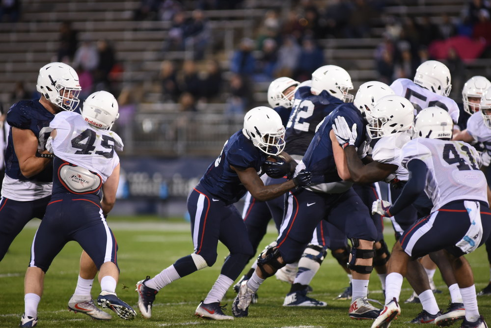 The UConn football team in their annual Spring Game. The Huskies will take on Holy Cross in the season opener Thursday, August 31, at Rentschler Field. (Olivia Stenger/The Daily Campus)