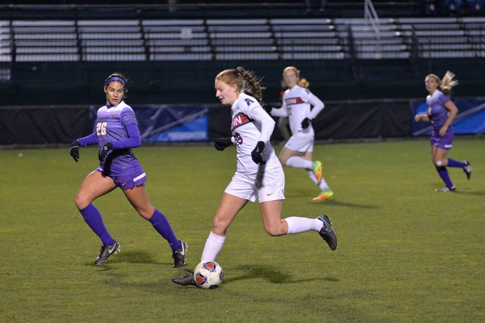 The women's soccer team took on and defeated UAlbany Great Danes 4-2 during the first round of the NCAA tournament at Morrone Stadium on Nov. 12, 2016. Goals were scored by Alexa Casimiro (4), Stephanie Ribeiro (18), Rachel Hill (3) and Maddie Damm (7). (Amar Batra, Senior Staff Photographer/The Daily Campus)