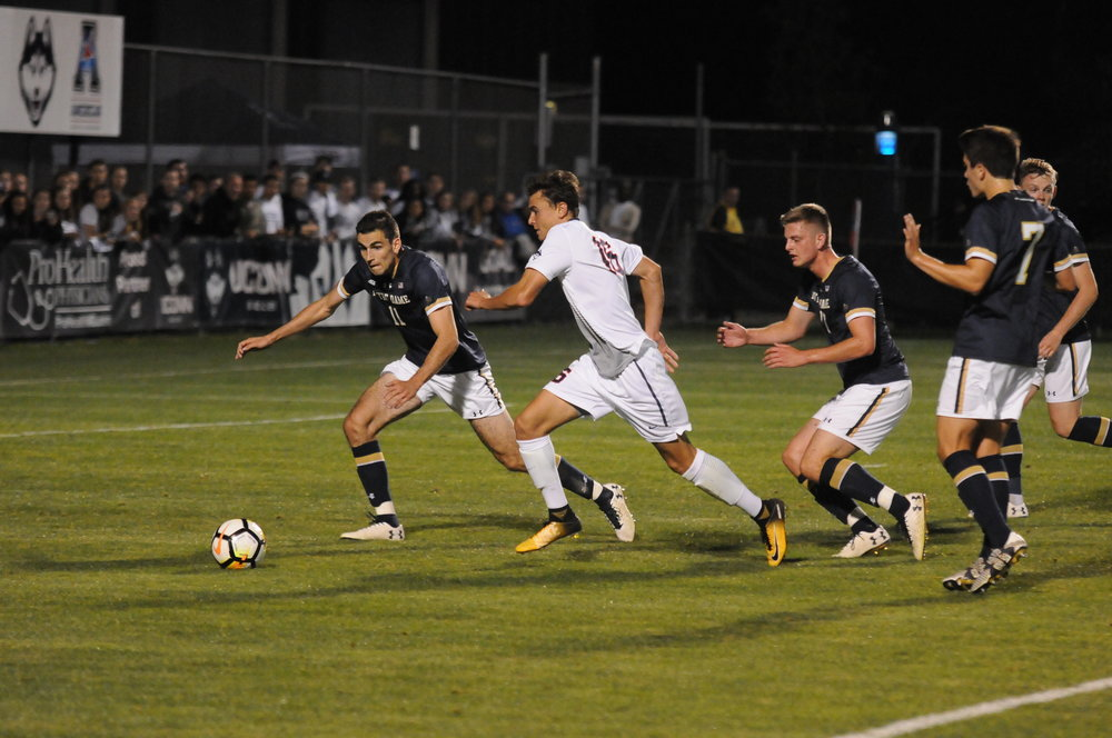 The men's soccer team lost to the Fighting Irish on Saturday, Sept. 2. Notre Dame scored late in the second half to win the game. Photo by Jon Sammis, Grab Photographer/Daily Campus