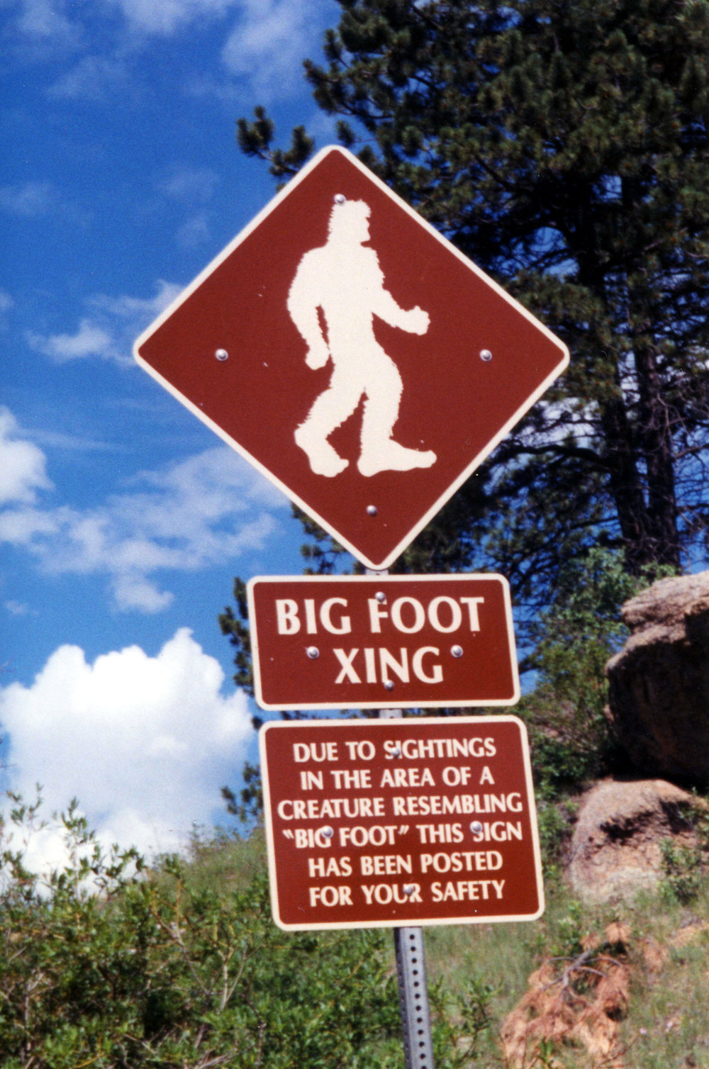 People have been looking for Bigfoot all over the world, but it seems he's been busy crossing this road the whole time. ( Allen Watkin /Flickr, Creative Commons)