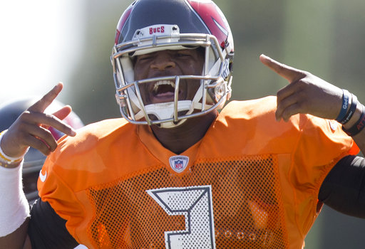 Tampa Bay Buccaneers quarterback Jameis Winston (3) gestures during training camp at One Buc Place in Tampa, Fla., Tuesday, Aug. 22, 2017. (Charlie Kaijo/Tampa Bay Times via AP)