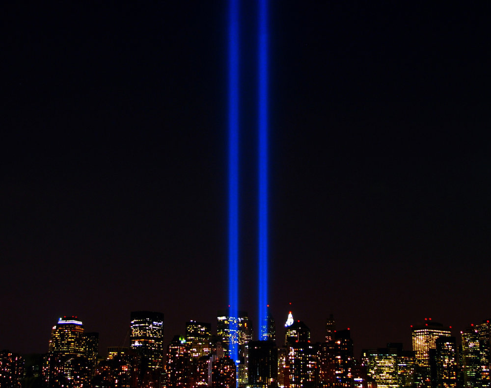 The World Trade Center lights in New York City in memory of the Twin Towers that were destroyed by al-Queda Sept. 11, 2001. (Scott Hudson/Flickr Creative Commons)