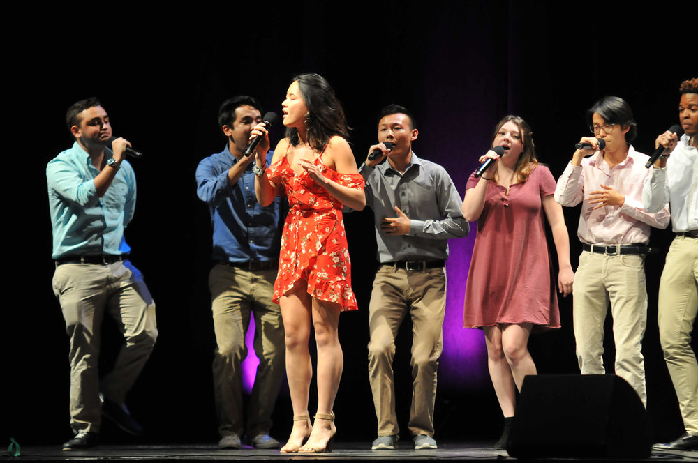 The A Capella Rush concert took place on Saturday, September 9 at Jorgenson. All nine groups performed two songs to recruit new members to audition this weekend. Pictured: Notes Over Storrs. (Olivia Stenger/The Daily Campus)