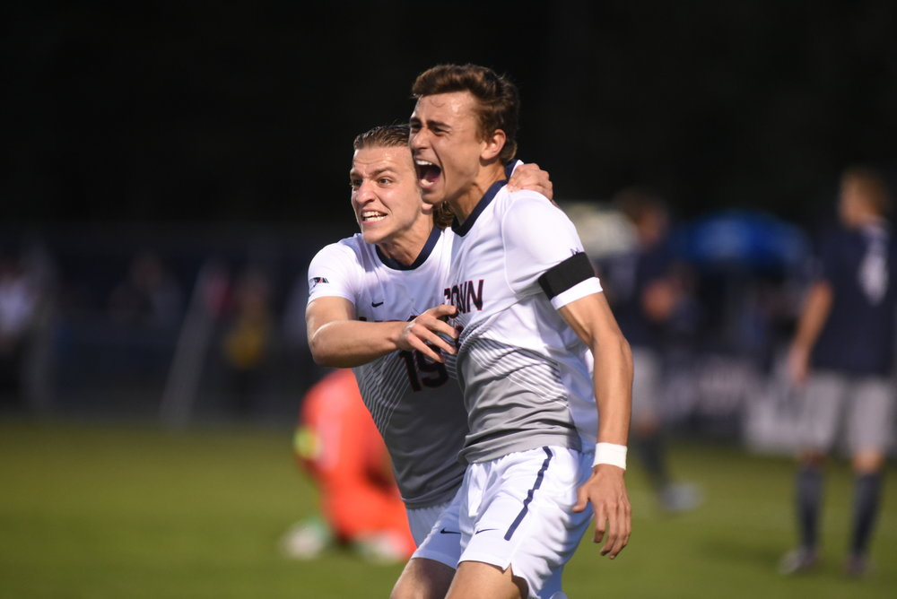 Freshman Austin DaSilva after his first career goal (Charlotte Lao/The Daily Campus)