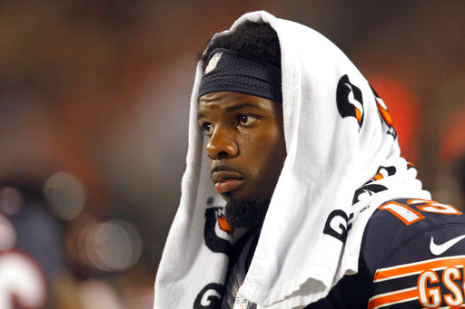 FILE - In this Aug. 11, 2016, file photo, Chicago Bears wide receiver Kevin White watches from the sideline during the second half of the team's NFL preseason football game against the Denver Broncos, in Chicago. White suffered a broken collarbone against the Atlanta Falcons and will go on injured reserve for the third straight season. (AP Photo/Tae-Gyun Kim, File)
