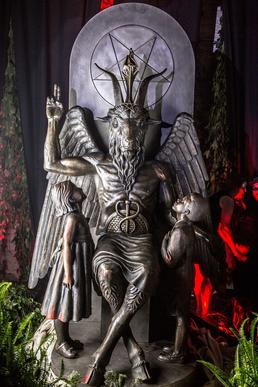"Image depicting The Satanic Temple's ""Baphomet"" statue during it's unveiling in Detroit in July of 2015 (photo taken by Matt Anderson)."