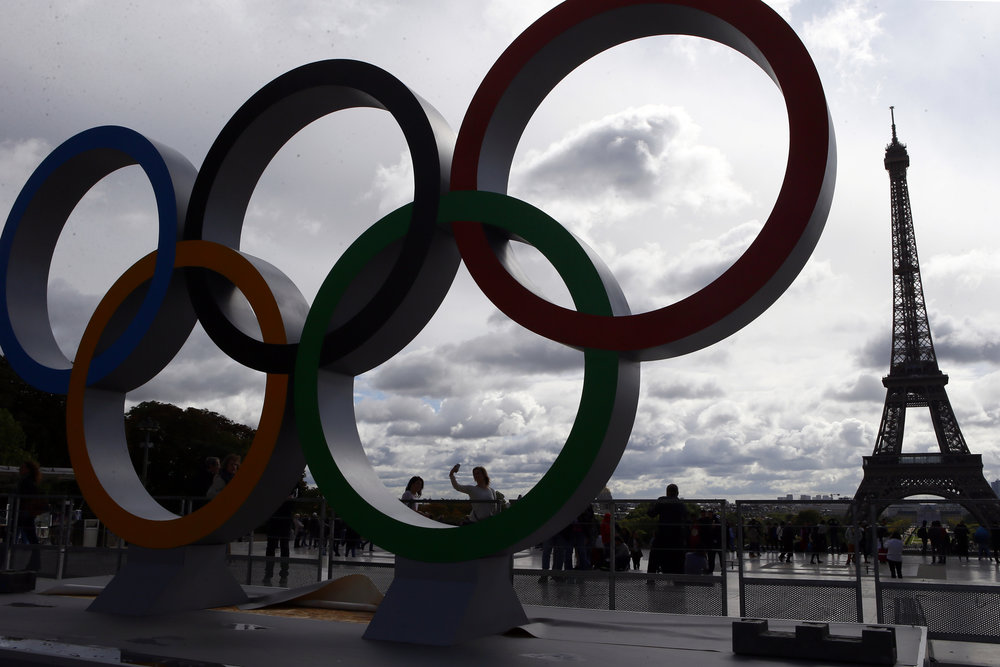 The Olympic rings are set up on Trocadero plaza that overlooks the Eiffel Tower, a day after the official announcement that the 2024 Summer Olympic Games will be in the French capital, in Paris, France, Thursday, Sept. 14, 2017. Paris will host the 2024 Summer Olympics and Los Angeles will stage the 2028 Games. (Francois Mori/AP)
