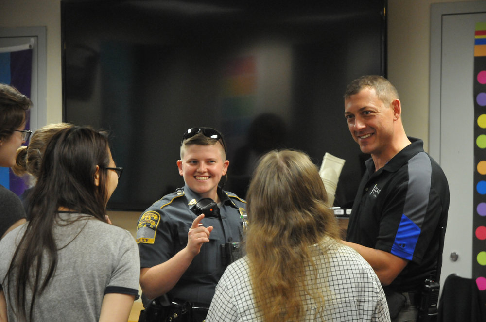 Representatives from the UConn Police Department came to the Rainbow Center on Thursday at 4 p.m.. The event opened with conversation over pizza and refreshments, and ended with team-building activities and games. (Olivia Stenger/The Daily Campus)