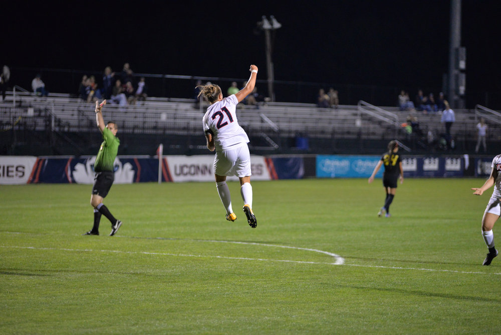 The Huskies fall 3-2 to Long Beach State University in double overtime on Thursday, Sept. 14, 2017 at Morrone Stadium. UConn's two goals were scored by Yamilee Eveillard (3) and Vivien Beil (21). (Amar Batra/The Daily Campus)