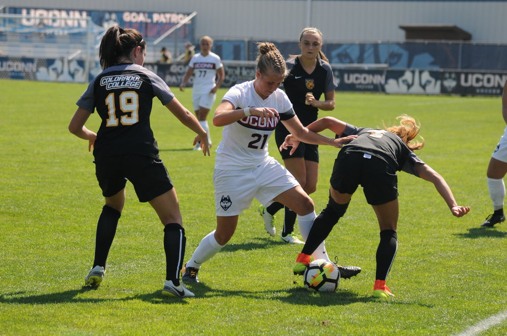 The Women's Soccer team tied with Colorado College 1-1. Vivien Beil score the lone goal for the Huskies. The Huskies are 2-4-3. (Charlotte Lao/The Daily Campus)