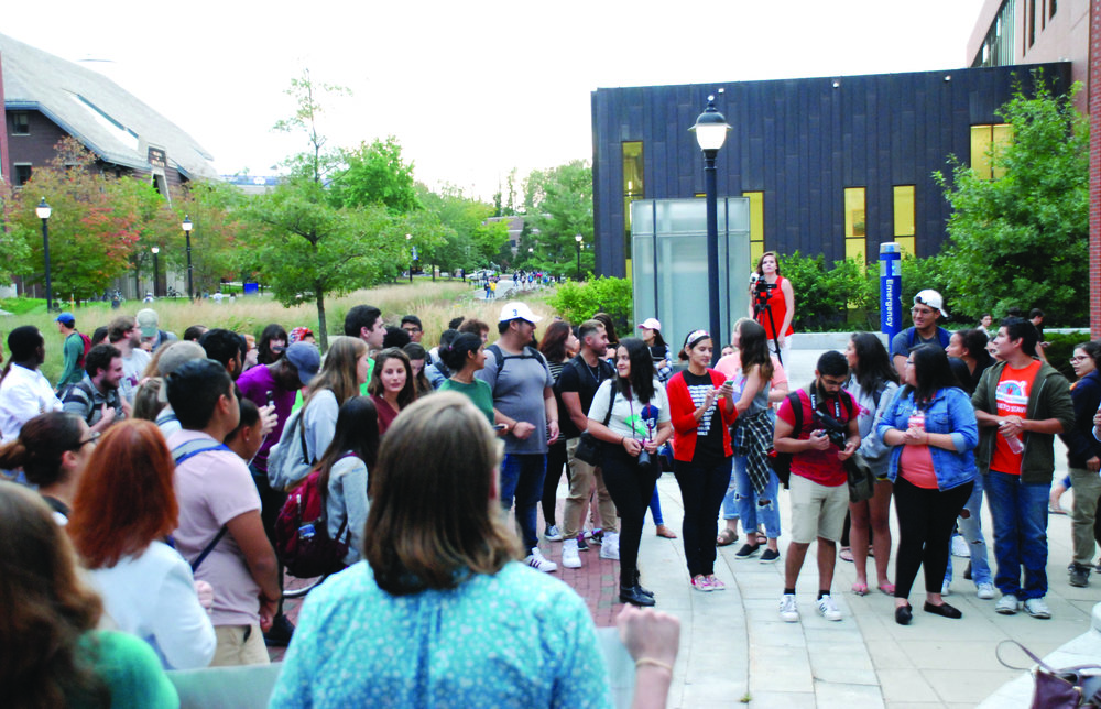 On Monday, September 18, students held a rally outside of the ROWE Center for Undergraduate Education to discuss DACA. (Alexis Taylor/The Daily Campus)