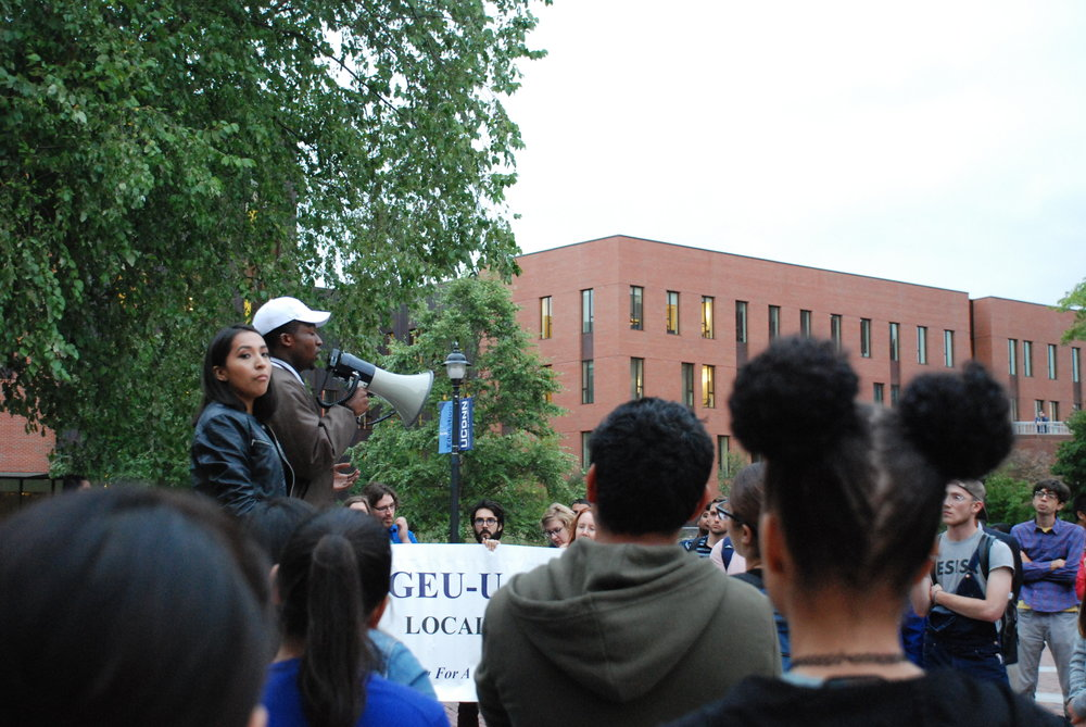 Senior George Morgan speaks at the DACA rally on Monday September 18. Students held the rally outside of the ROWE Center for Undergraduate Education to discuss. (Alexis Taylor/The Daily Campus)