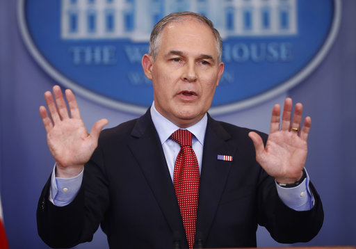 FILE - In this June 2, 2017, file photo, EPA Administrator Scott Pruitt speaks to the media during the daily briefing in the Brady Press Briefing Room of the White House in Washington. (AP Photo/Pablo Martinez Monsivais, File)