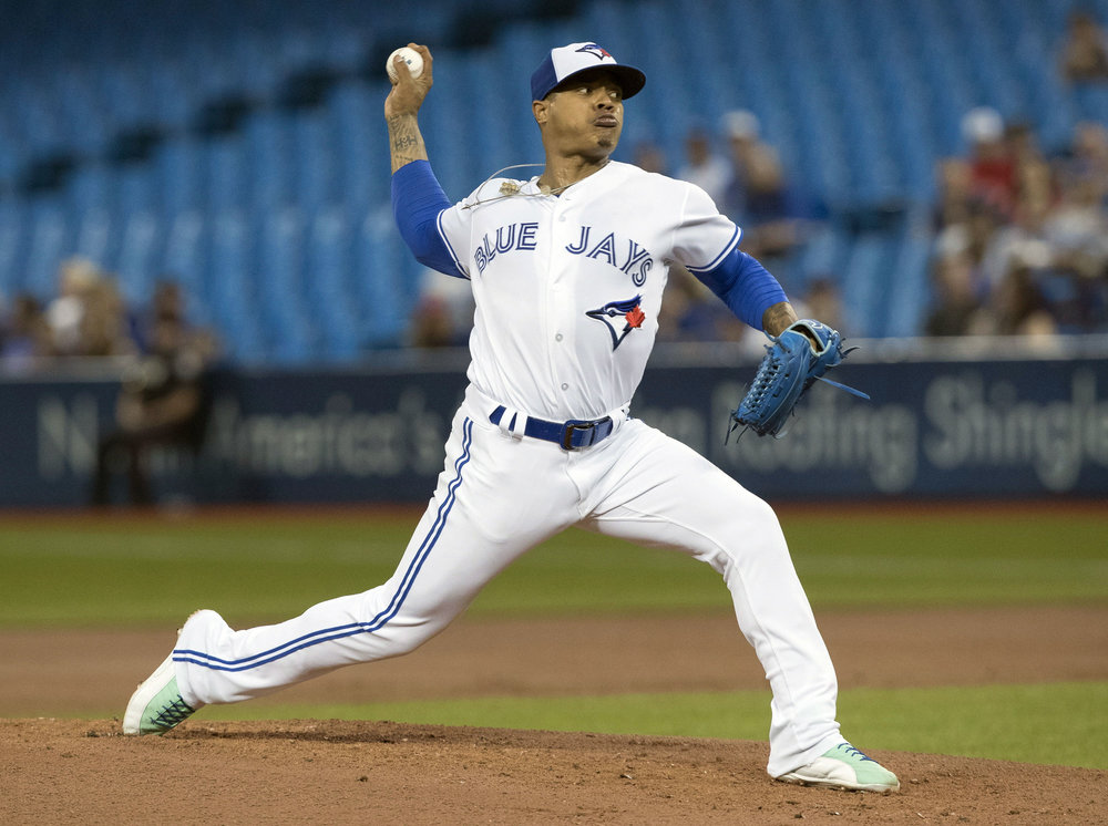 Toronto Blue Jays starting pitcher Marcus Stroman throws against the Kansas City Royals during the first inning of a baseball game, Tuesday, Sept. 19, 2017 in Toronto. (Fred Thornhill /AP)