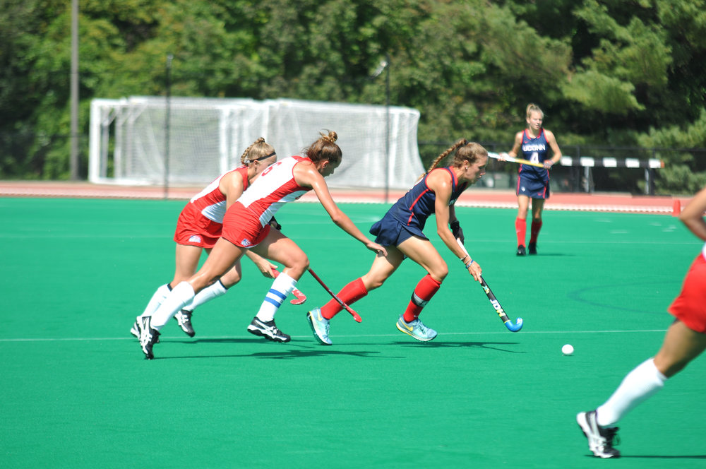 The field hockey team took on Boston University on Sunday, September 17 at 1 p.m.. The Huskies won the game 8-1 after gaining a significant lead in the first half. (Olivia Stenger/The Daily Campus)