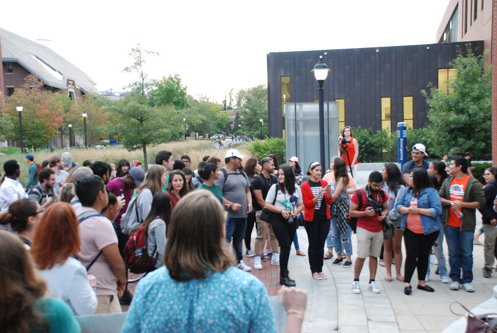 On Monday Sept. 18, students held a rally outside of the ROWE Center for Undergraduate Education to discuss DACA. (Alexis Taylor/The Daily Campus)