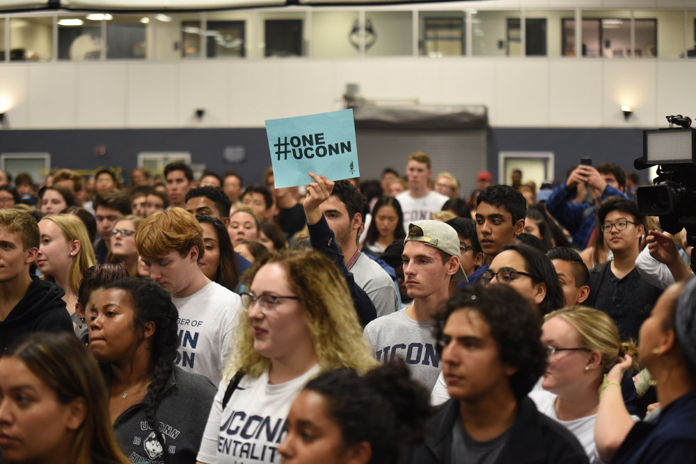UConn students gather in the Hugh S. Greer Field House for the #SAVEUCONN Rally. (Charlotte Lao/The Daily Campus)