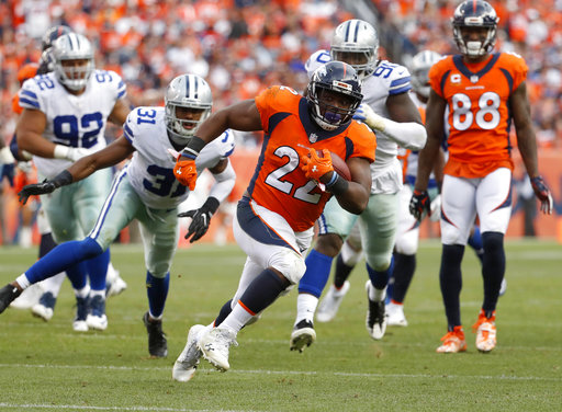 In this Sunday, Sept. 17, 2017, file photo, Denver Broncos running back C.J. Anderson (22) runs for a touchdown during the second half of an NFL football game against the Dallas Cowboys in Denver. (AP Photo/Jack Dempsey, File)