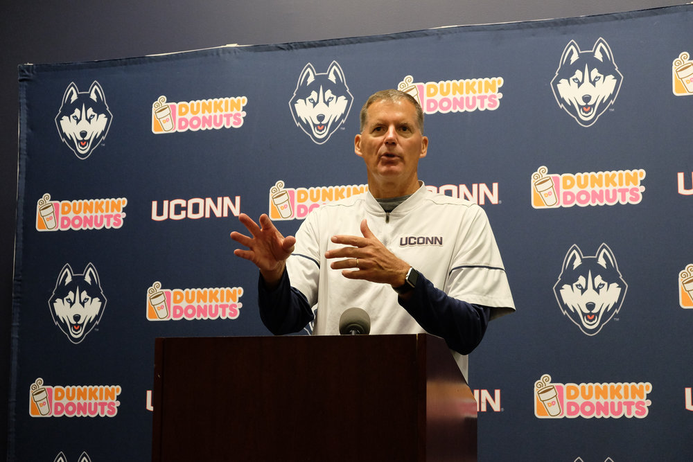 Coach Randy Edsall answers questions about the UConn football game before the game against East Carolina on Sept. 20, 2017. (Jon Sammis/The Daily Campus)