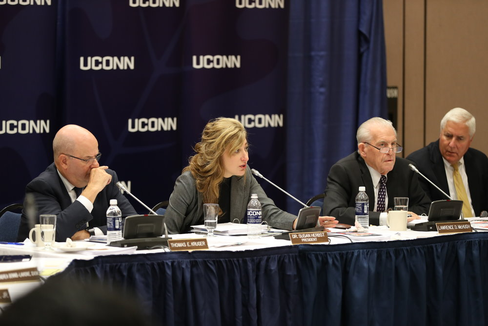 UConn president Susan Herbst speaks at a Board of Trustees meeting on September 29th, 2016. (Owen Bonaventura/The Daily Campus)