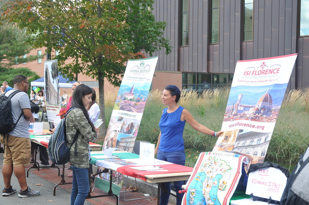 The Education Abroad Fair took place on Fairfield Way on September 15 from 11 a.m. to 3 p.m.. Representatives from the various study abroad programs set up tables to offer students information about going abroad. (Olivia Stenger/The Daily Campus)