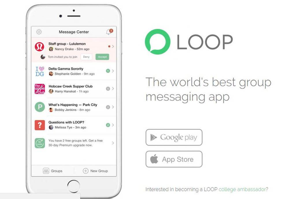 "LOOP prides itself on its ""powerful admin and personalization controls,"" but it's the app's most confusing aspect. What's the point of having a group chat if not all members can post in it? (Screenshot/Loopmessenger.com)"