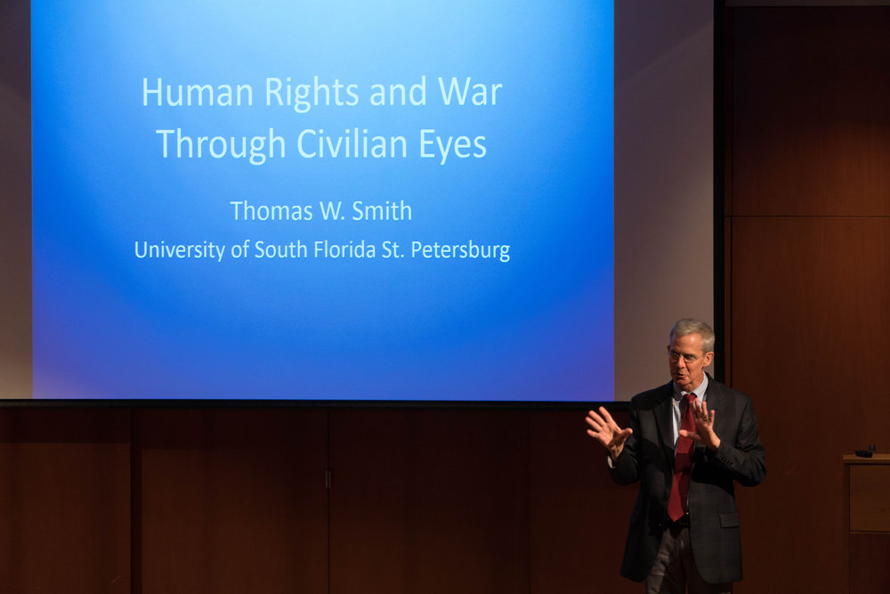 Thomas W. Smith, a Professor of Political Science at the University of South Florida speaks on the civilian perspective of human rights and war throughout history on Sept. 27, 2017 in Konover Auditorium. (Eric Wang/The Daily Campus)