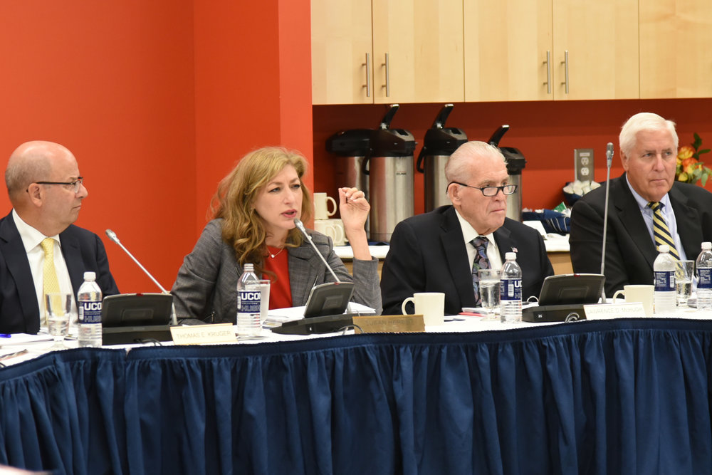 President Susan Herbst addresses the UConn Board of Trustees during a meeting of the board to discuss the university cuts proposed by the state's Republican party on Wednesday, Sept. 27, 2017. (Charlotte Lao/The Daily Campus)