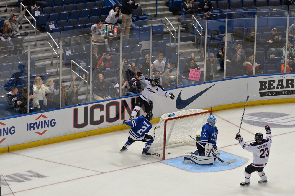 Saturday's exhibition will provide coaches and fans with the first look of how the newest Huskies mix with the old, and if the team can generate enough offense to compete in Hockey East. (Amar Batra/The Daily Campus)